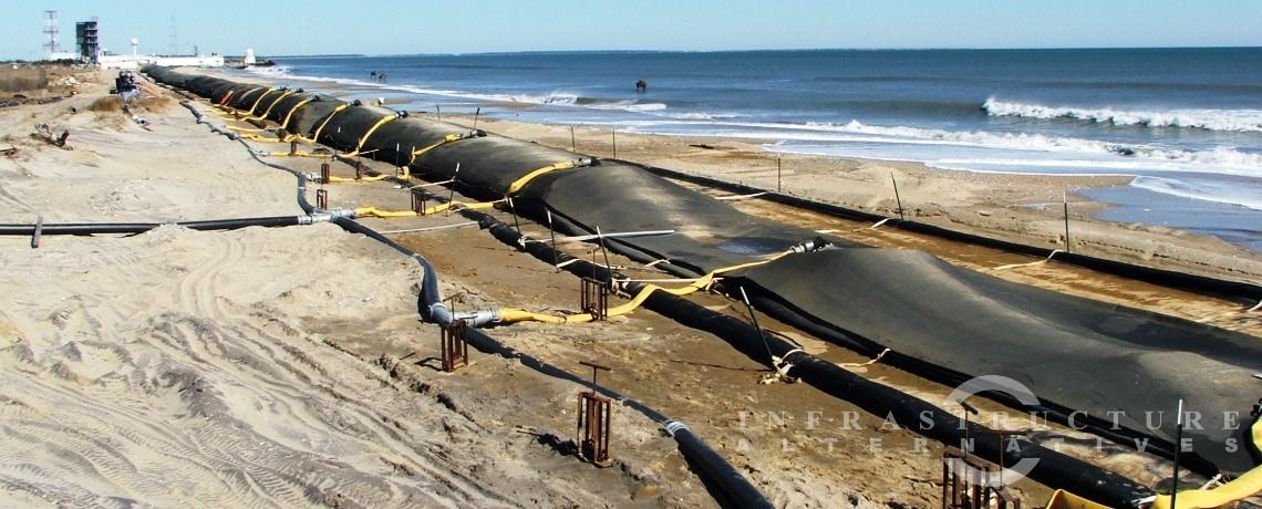 Wallops Island Emergency Shoreline Stabilization, filling geotextile tubes along the shoreline